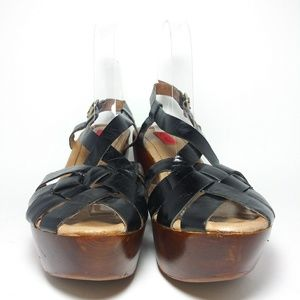 Miz Mooz Gizmo Black Leather Wedge Sandals Sz8.5